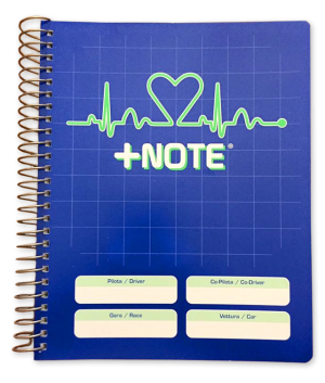 Co-driver pacenote book +Note with metal spiral, blue color