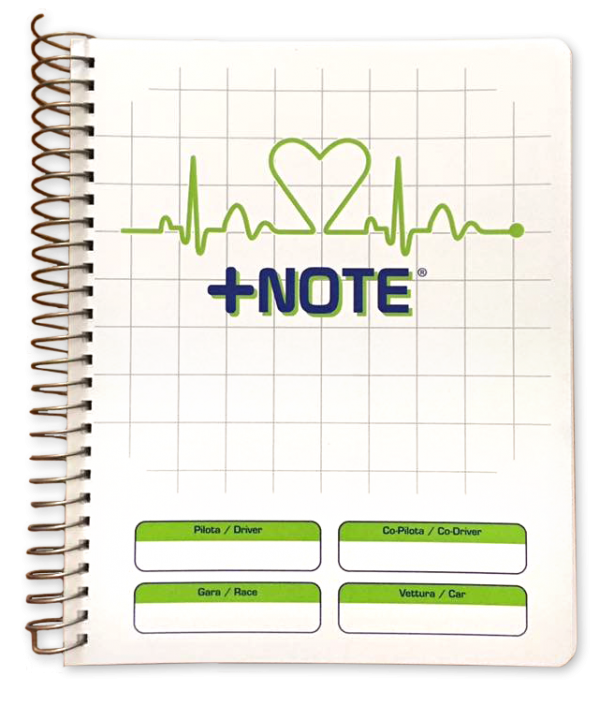 Co-driver pacenote book +Note with metal spiral, white and green color