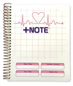Co-driver pacenote book +Note with metal spiral, white and pink color
