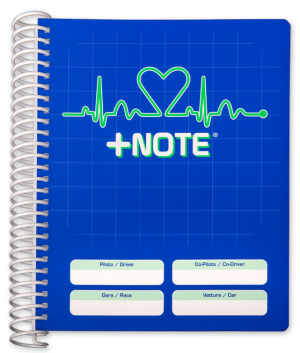 Co-driver pacenote book +Note with plastic spiral, blue color