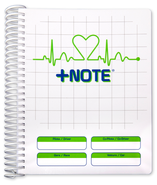 Co-driver pacenote book +Note with plastic spiral, white and green color
