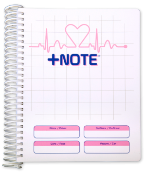 Co-driver pacenote book +Note with plastic spiral, white and pink color