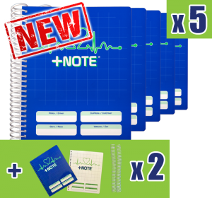 5 small co-driver pacenote books +Note with plastic spiral, blue color