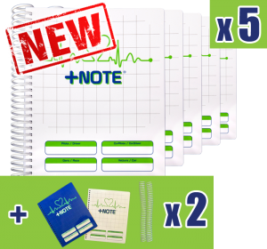 5 small co-driver pacenote books +Note with plastic spiral, white and green color