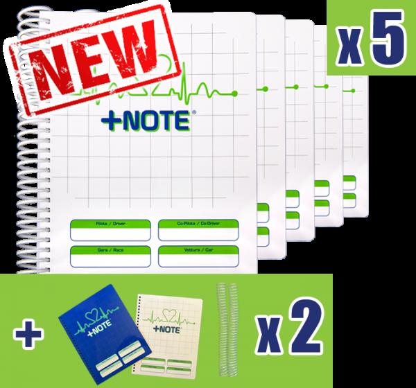 5 quaderni note rally piccolo +Note con spirale in plastica, colore bianco verde