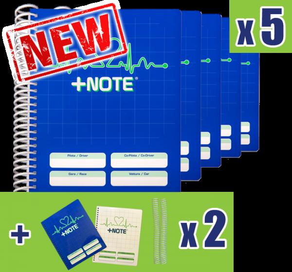 5 quaderni note rally piccolo +Note con spirale in plastica, colore blu